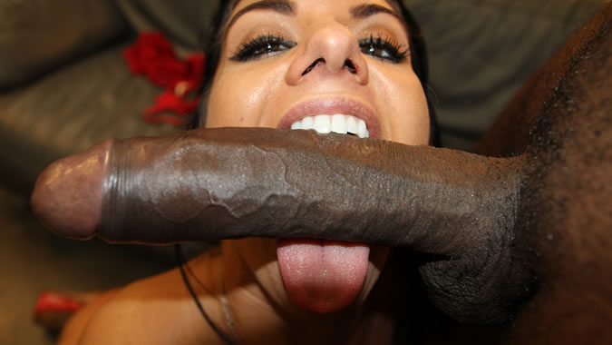 Ebony girl gives white guy a footjob