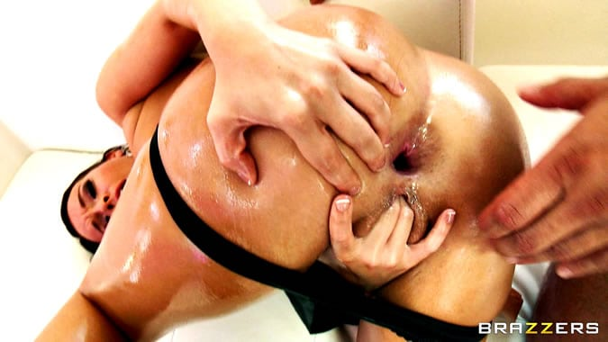 Oiled anal sex