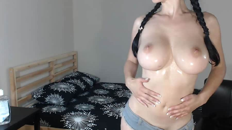 Blonde milf cam model rides a long dildo 5